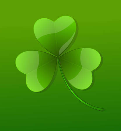 clover leaf shape: Green Glossy Shamrock