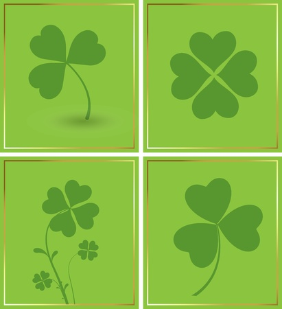 Shamrock Background Set Vector