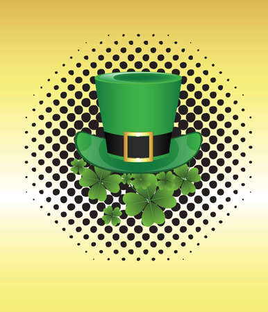 Leprechaun Hat on Halftone Banner Vector