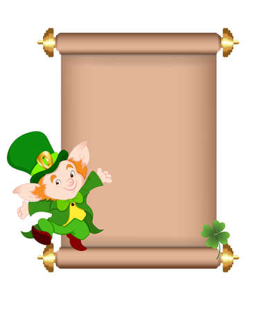 Cute Leprechaun on Scroll Vector