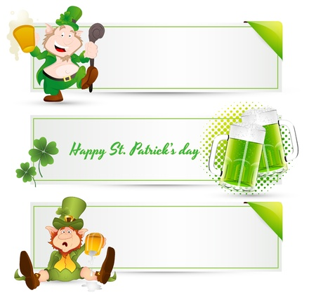 St  Patricks Day Leprechaun Banners Vector