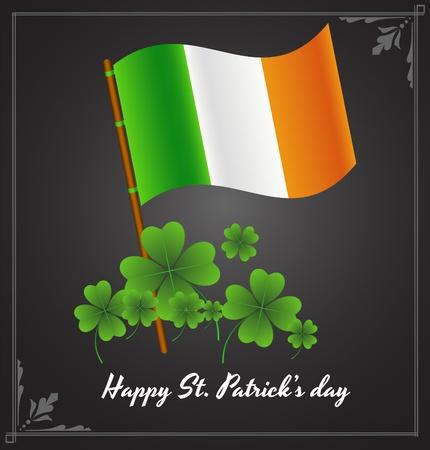 irland: Irische Flagge mit Shamrock Hintergrund