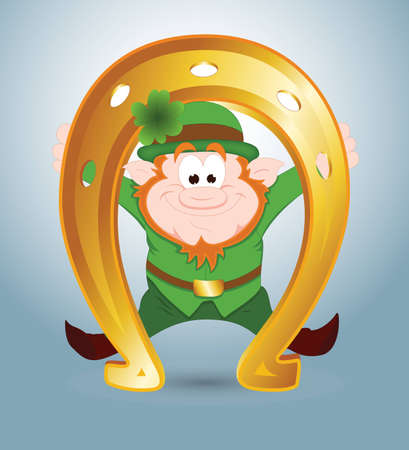 Leprechaun with Golden Horseshoe Vector