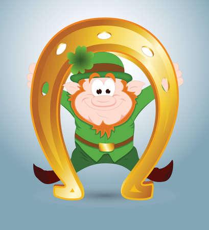 golden horseshoe: Leprechaun with Golden Horseshoe