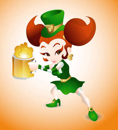Modern St  Patricks Day Girl Vector