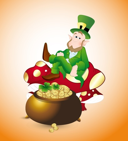 Leprechaun Protecting Treasure Vector