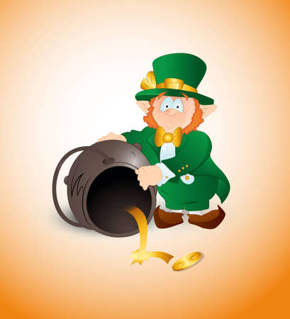Leprechaun Find Golden Coin Vector