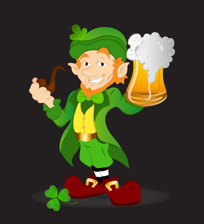 cigar smoking man: Young Leprechaun Illustration