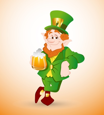 Leprechaun Drinking Beer Vector