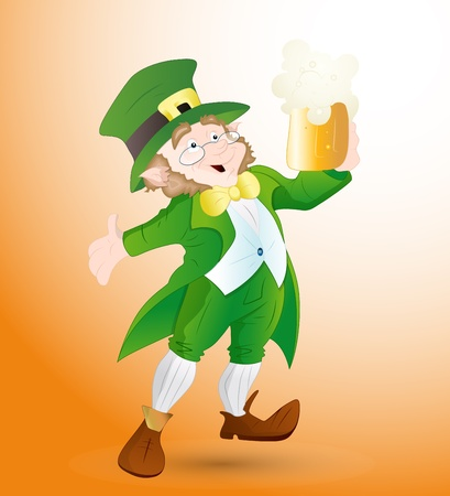 Leprechaun Holding Beer Glass Vector