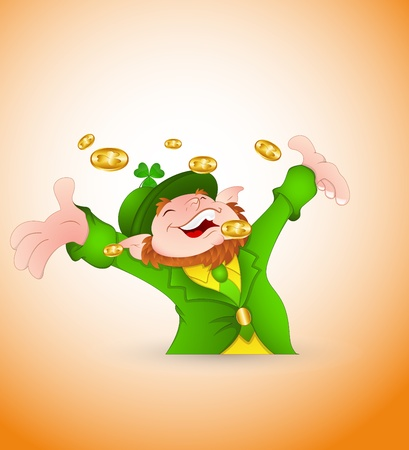 Leprechaun Playing with Golden Coins Vector