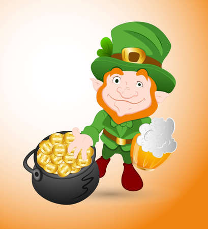 Leprechaun with Beer and Pot of Gold Coins Vector