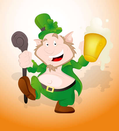 Happy Leprechaun Dancing Vector