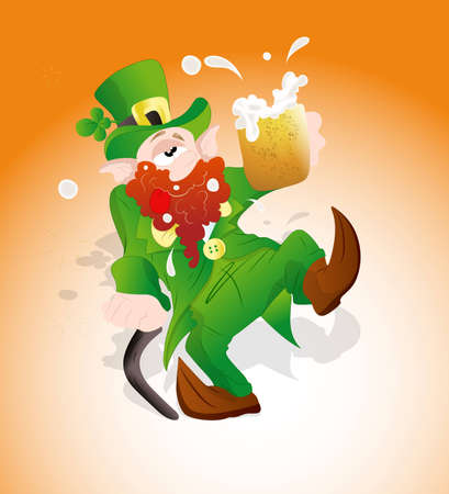 Drunk Leprechaun with Beer Vector