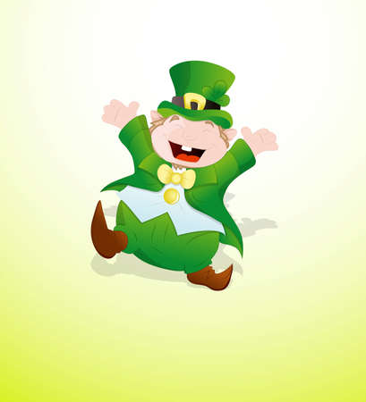 Dancing Cute Leprechaun Vector