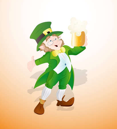 Leprechaun with Beer of Glass Vector