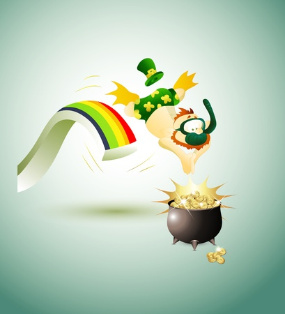 Leprechaun Jumping in Pot of Gold Coins Vector