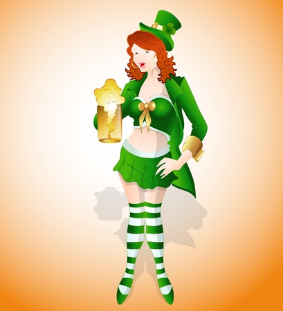 Sexy St  Patricks Girl Vector