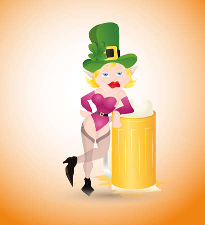 Sexy St  Patrick's Girl with Beer Stock Vector - 12654909