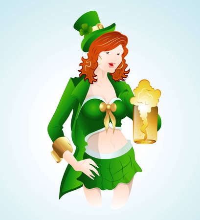 Illustration of St  Patricks Girl with Beer Vector