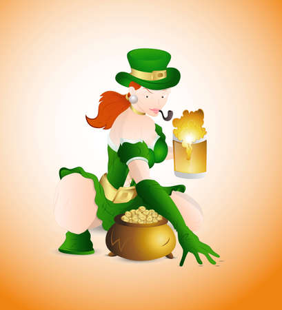 Sexy Girl with Beer and Pot of Gold Illustration