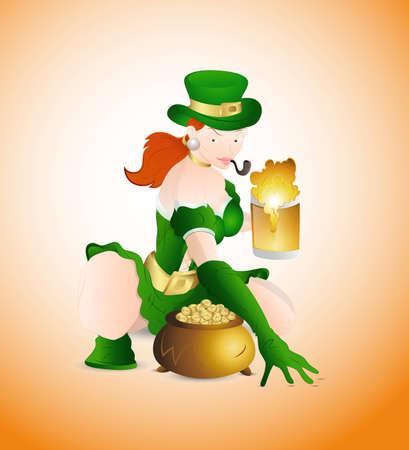 pijp roken: Sexy Meisje met Beer en Pot of Gold Stock Illustratie