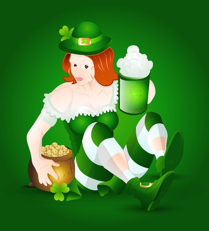 St  Patricks Girl with Beer and Pot of Gold Vector