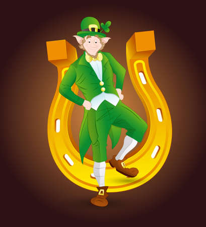 Leprechaun on Golden Horseshoe Vector