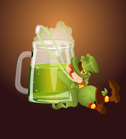 irland�s: Leprechaun Beber cerveza a trav�s de la paja Vectores