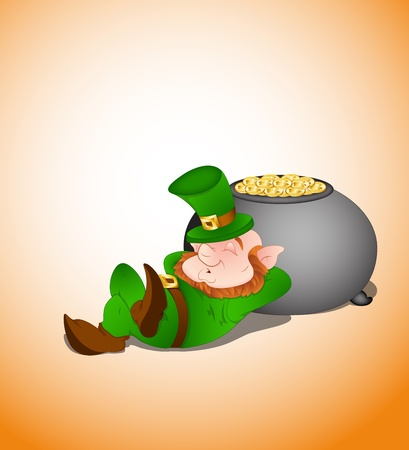 Sleeping Leprechaun Vector