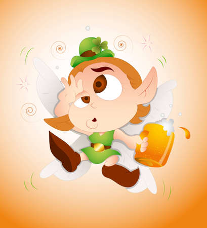 Drunk Baby Leprechaun Vector