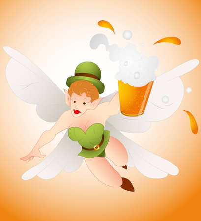 Angel Leprechaun with Beer Vector