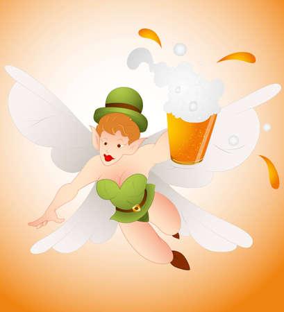 Angel Leprechaun with Beer Stock Vector - 12654915