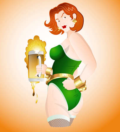 Sexy Girl with Beer Vector