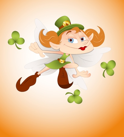 Cartoon Leprechaun Girl Vector