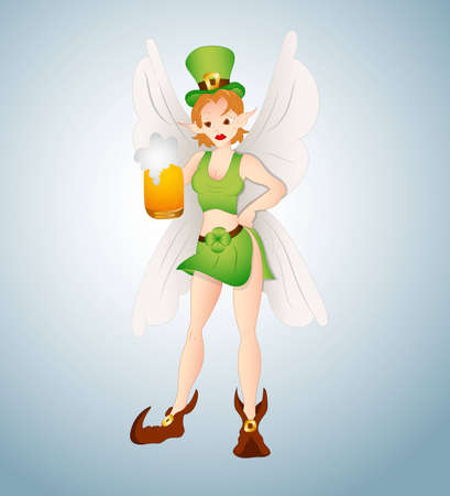 Leprechaun Fairy with Beer Vector