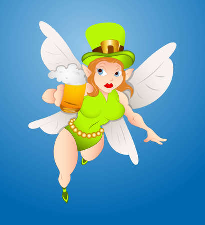 Flying Fairy with Beer Vector