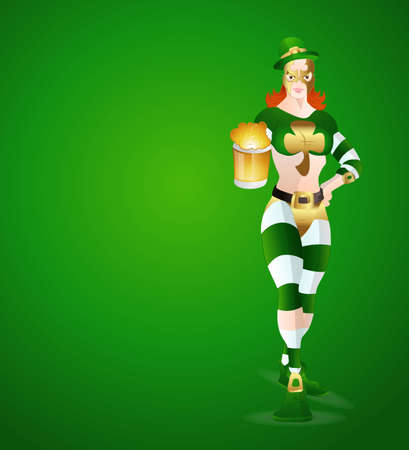 Modern Leprechaun Girl with Beer Vector