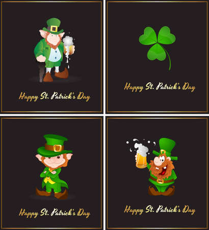 Set of St  Patricks Leprechaun Vector