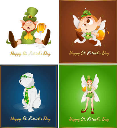 St  Patrick's Day Greeting Cards Vector