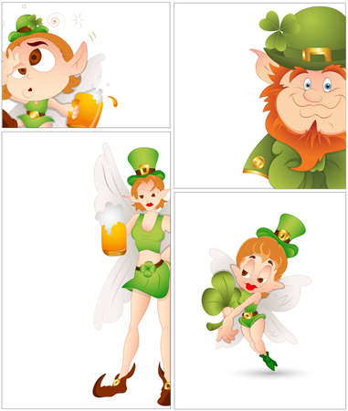 Set of Fairy Leprechaun Vector