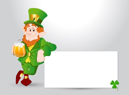 Happy Leprechaun Banner Vector
