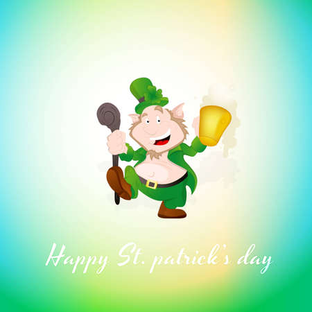 Dancing Leprechaun Greeting Vector