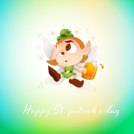 Drunk Baby Leprechaun Greeting Stock Vector - 12654798