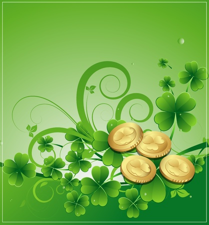 Gold Coins with Shamrock Vector