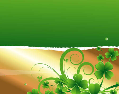 Shamrock on Golden Torn Paper Stock Vector - 12654740