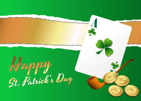 Patricks Day Background with Card and Coins Vector