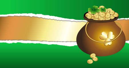 Gold Pot on Torn Background Illustration