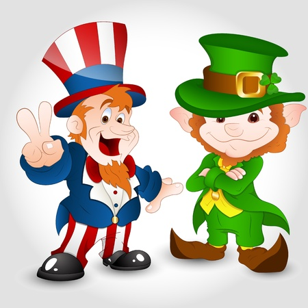 Uncle Sam with Cute Leprechaun Vector