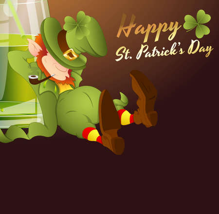 Drunk Leprechaun Greeting Card Vector